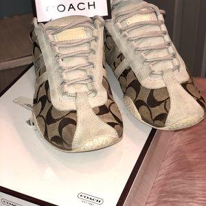 Women beige Coach sneakers Sz 7M